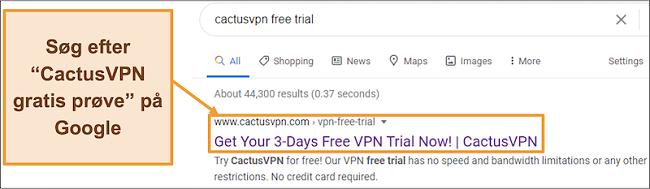 Skærmbillede, der viser, hvordan du finder CactusVPN-gratis prøveperiode på Google