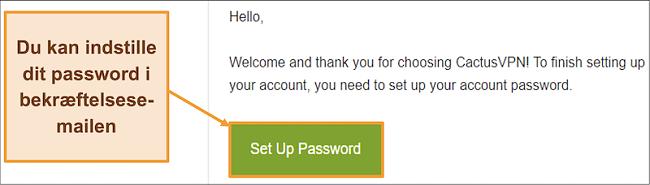 Skærmbillede, der viser bekræftelses-e-mail fra CactusVPN for at oprette en adgangskode til din konto