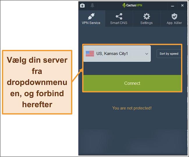 Skærmbillede af CactusVPN-interface, der viser rullemenuen til valg af server