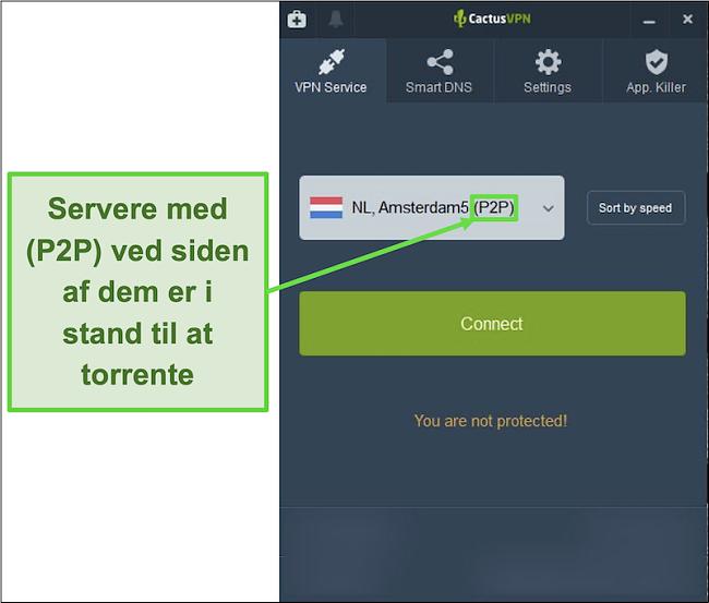 Skærmbillede, der viser hvilke servere der er i stand til at torrente