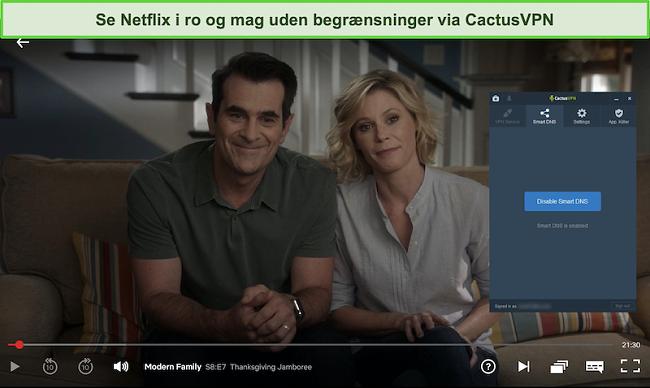 Skærmbillede af Modern Family med succes streaming på Netflix med CactusVPN tilsluttet