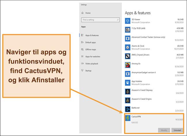 Skærmbillede, der viser, hvordan du starter processen med at afinstallere CactusVPN fra menuen Apps og funktioner