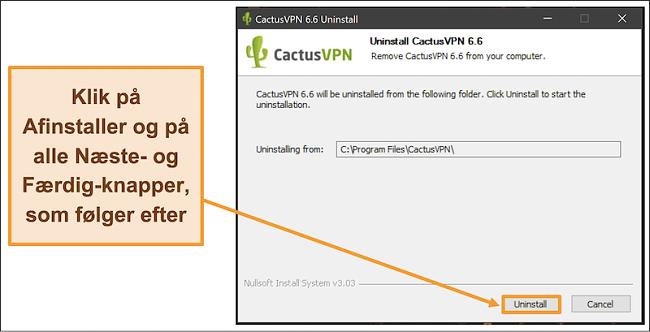 Skærmbillede, der viser, hvordan du afslutter afinstallationen af CactusVPN fra afinstallationsguiden