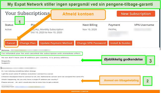Skærmbillede af My Expat Networks tilbagebetalingsproces