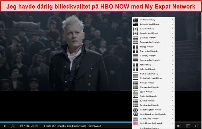 Skærmbillede af My Expat Network, der fjerner blokering af HBO NU