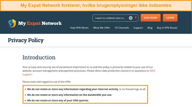Skærmbillede af privatlivspolitikken for My Expat Network