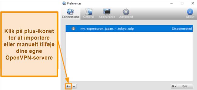 Skærmbillede af Viscosity-appen, der viser, hvordan du tilføjer OpenVPN-servere