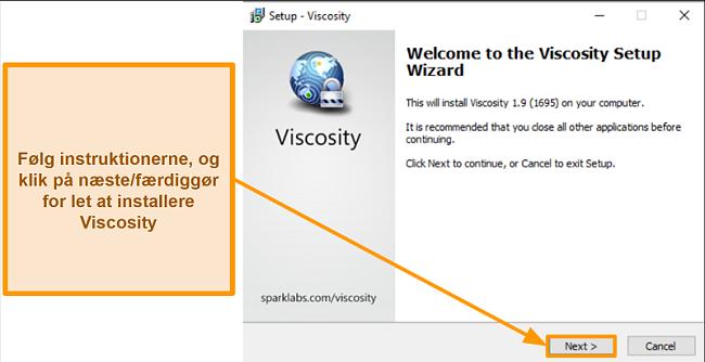 Skærmbillede af guiden til viskositetsopsætning til at installere appen