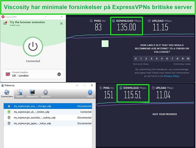 Skærmbillede af hastighedstestresultater, mens du er tilsluttet Express VPNs britiske servere gennem både Viscosity og ExpressVPN
