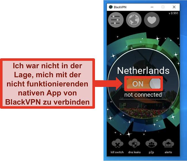 Screenshot des Windows-Clients von BlackVPN, der trotz Aktivierung keine Verbindung herstellt