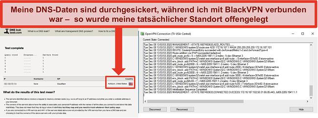 Screenshot eines fehlgeschlagenen DNS-Lecktests, während BlackVPN mit einem Server in den USA verbunden ist