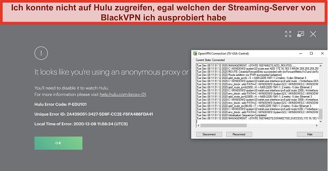 Screenshot des Proxy-IP-Fehlers von Hulu, während BlackVPN über OpenVPN verbunden ist
