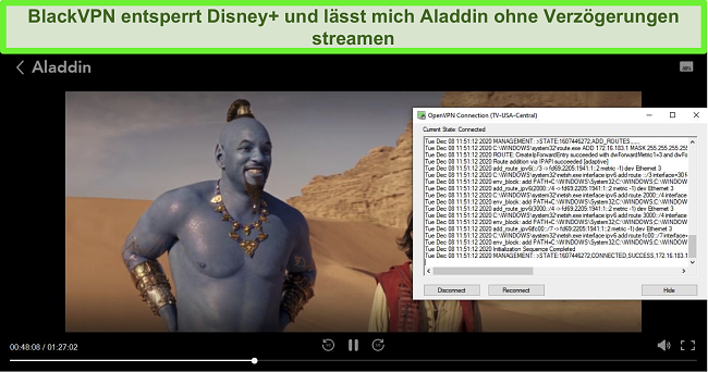 Screenshot von Aladdin auf Disney +, während BlackVPN über den OpenVPN-Client mit dem US Central-Streaming-Server verbunden ist