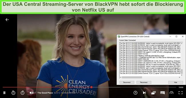 Screenshot von The Good Place auf Netflix, während BlackVPN über den OpenVPN-Client mit dem US Central-Streaming-Server verbunden ist