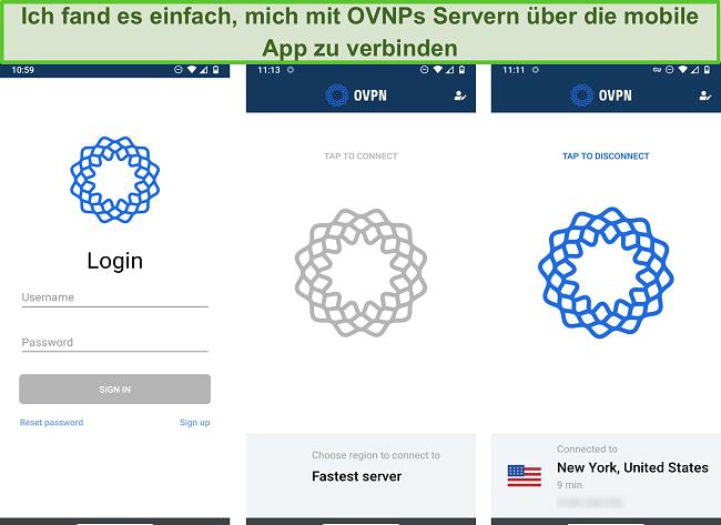 Screenshot des Anmeldevorgangs von OVPN auf Mobilgeräten