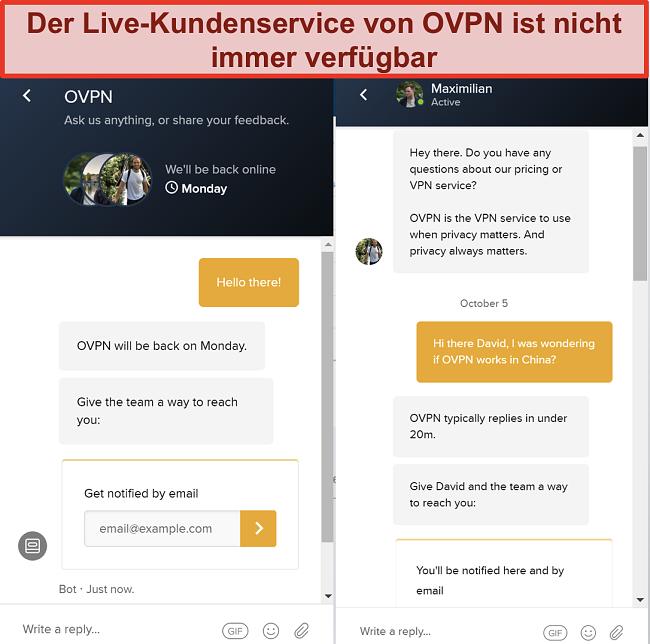 Screenshot der eingeschränkten Live-Chat-Unterstützung für OVPN