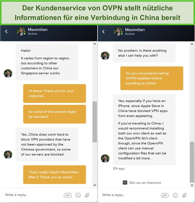 Screenshot des Live-Chats mit OVPN darüber, ob Server in China funktionieren