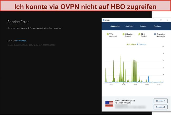 Screenshot von OVPN, das von HBO blockiert wird