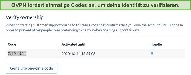 Screenshot des einmaligen Codes von OVPN zur Überprüfung der Identität während des Kündigungsprozesses des Abonnements
