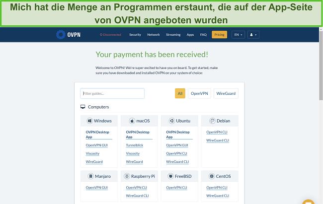 Screenshot der App-Optionen von OVPN