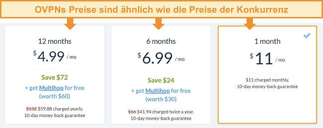 Screenshot der Preisoptionen von OVPN