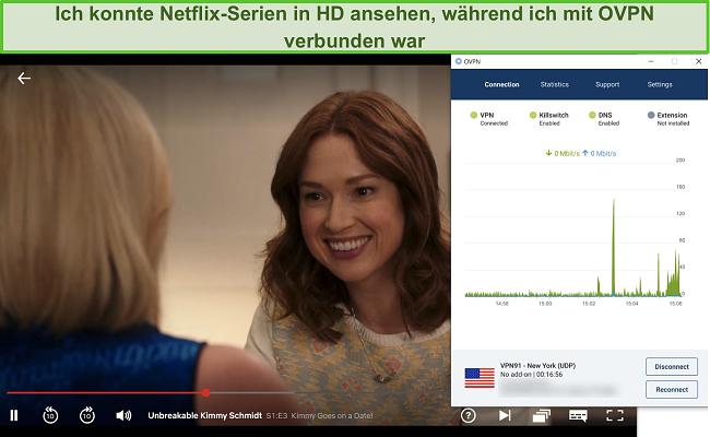 Screenshot von OVPN, das Netflix entsperrt
