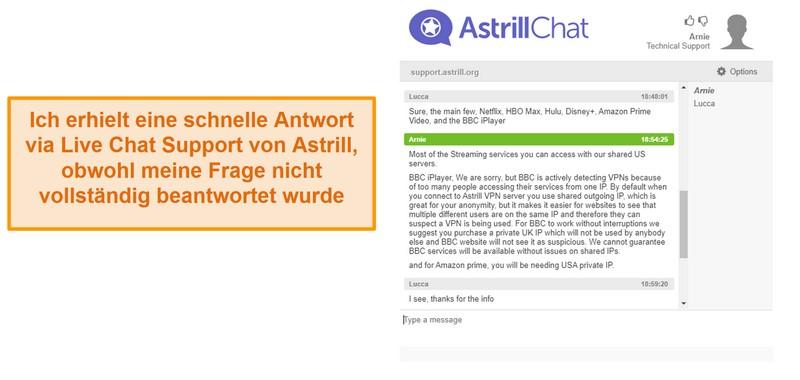 Screenshot von Astrills Live-Chat-Unterstützung.