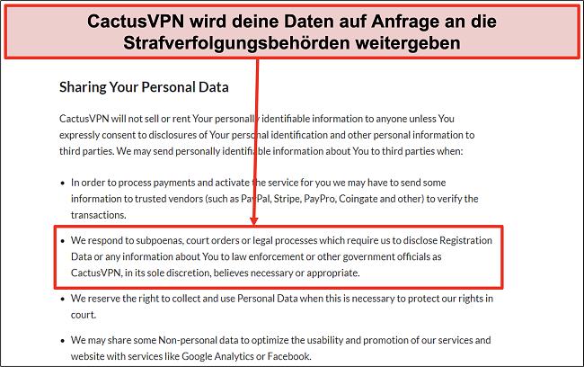 Screenshot der Datenschutzrichtlinie von CactusVPN, aus der hervorgeht, dass Ihre Daten weitergegeben werden
