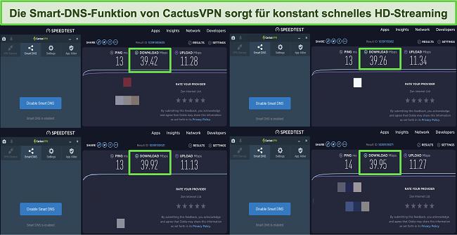 Screenshot von 4 Geschwindigkeitstests, während eine Verbindung zu den intelligenten DNS-Servern von CactusVPN besteht