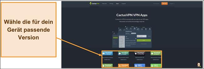 Screenshot zeigt, wo Sie die gewünschte Version von CactusVPN von der Website herunterladen können