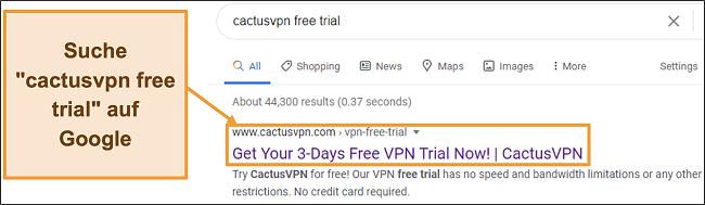 Screenshot zeigt, wie Sie die kostenlose Testversion von CactusVPN bei Google finden