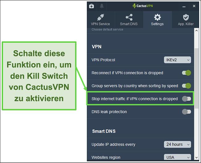 Screenshot, der zeigt, wie der Kill-Schalter von CactusVPN manuell aktiviert wird