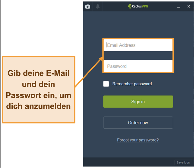 Screenshot mit dem Anmeldebildschirm auf dem CactusVPN-Client