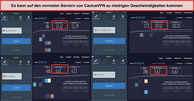 Screenshot der langsamen Geschwindigkeit auf den normalen Servern von CactusVPN
