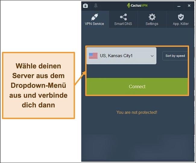 Screenshot der CactusVPN-Oberfläche mit Dropdown-Menü zur Serverauswahl