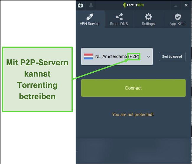 Screenshot zeigt, welche Server Torrenting-fähig sind