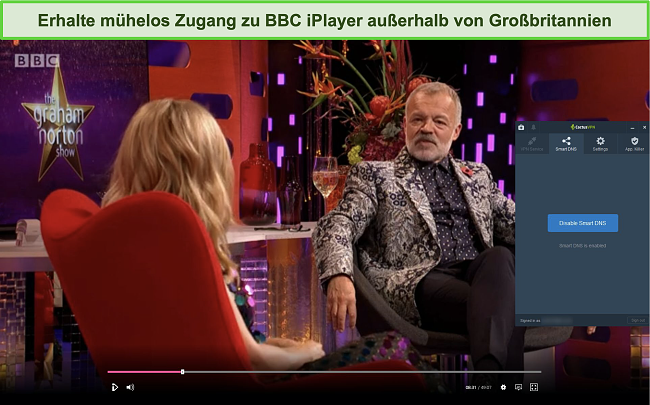 Screenshot der Graham Norton Show, die erfolgreich auf BBC iPlayer mit verbundenem CactusVPN gestreamt wurde