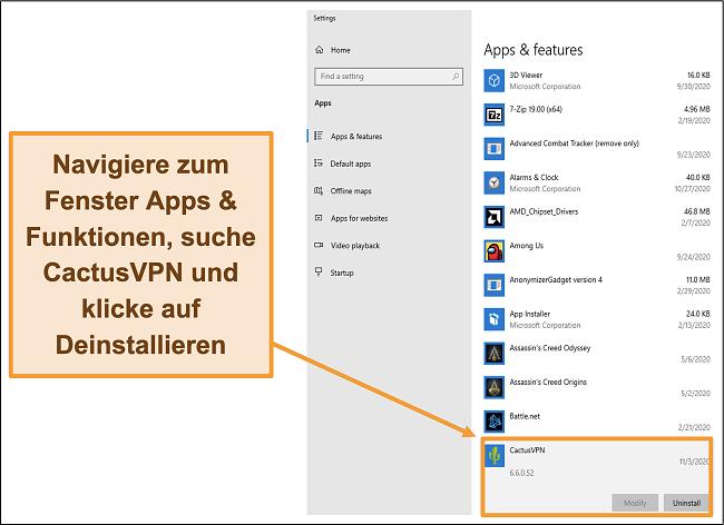 Screenshot, der zeigt, wie Sie den Prozess der Deinstallation von CactusVPN über das Menü Apps & Funktionen starten