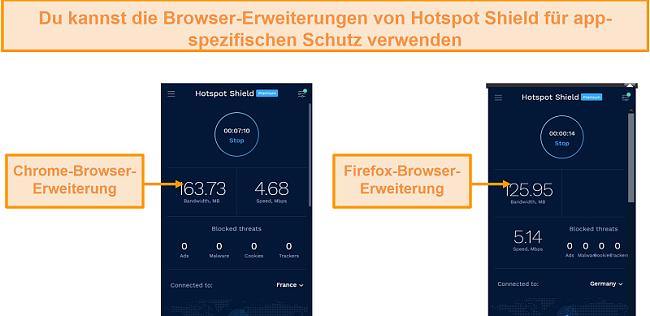 Screenshot der Browsererweiterungen von Hotspot Shield für Chrome und Firefox.