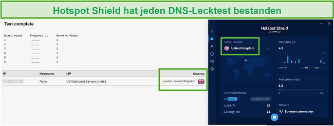 Screenshot von Hotspot Shield, der einen DNS-Test besteht, während er mit einem britischen Server verbunden ist.