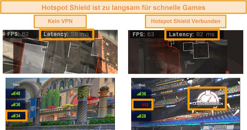 Screenshot von Call of Duty: Modern Warfare und Rocket League wurden auf Latenz erhöht, wenn sie mit Hotspot Shield VPN auf dem PC verbunden sind.