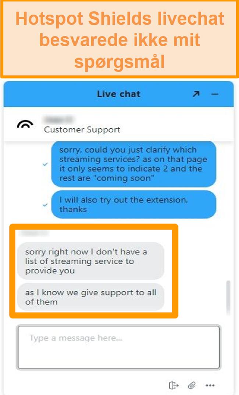 Skærmbillede af en Hotspot Shield live chat-agent, der ikke kan besvare mit spørgsmål