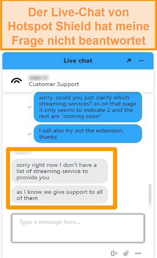 Screenshot eines Hotspot Shield Live-Chat-Agenten, der meine Frage nicht beantworten kann