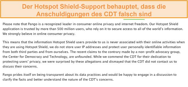 Screenshot der E-Mail-Antwort von Hotspot Shield, als er nach dem Vorfall von 2017 gefragt wurde, bei dem das CDT bei der FTC eine Beschwerde über die Datenerfassungspraktiken von Hotspot Shield eingereicht hat.