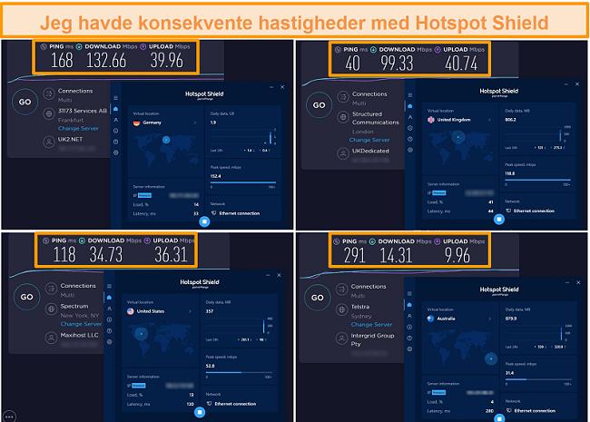 Screenshot af Hotspot Shield-hastighedstest fra Tyskland, Storbritannien, USA og Australien