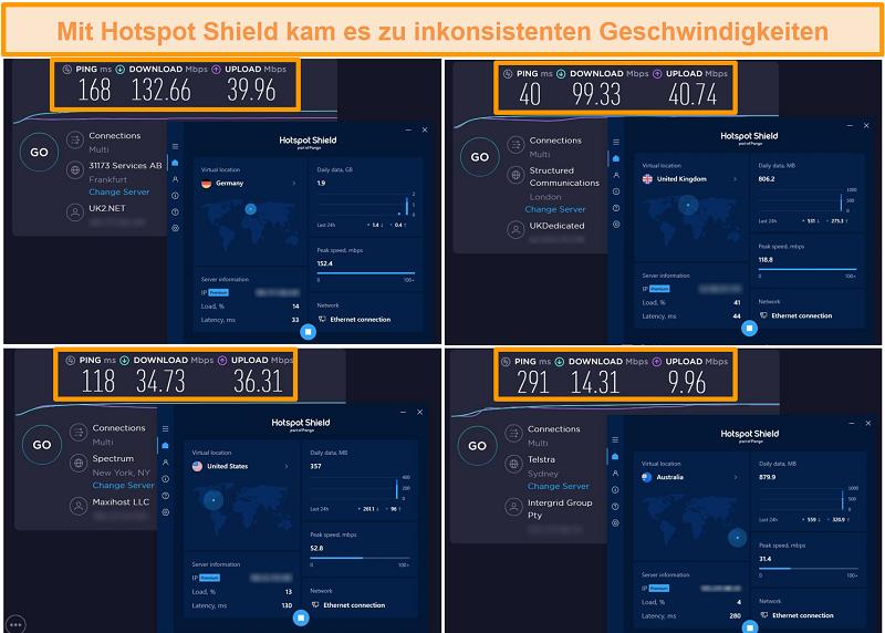 Screenshot von Hotspot Shield-Geschwindigkeitstests aus Deutschland, Großbritannien, den USA und Australien