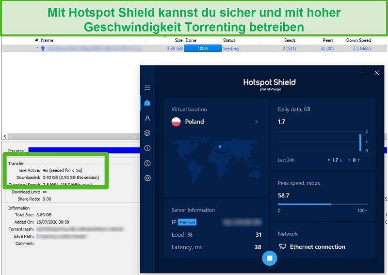 Screenshot der Verbindung zu Hotspot Shield beim Torrenting einer 4-GB-Datei in weniger als 4 Minuten.