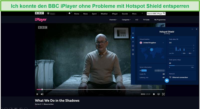Screenshot von Hotspot Shield, der entsperrt, was wir im Schatten auf dem BBC iPlayer tun.