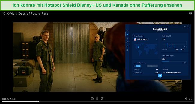 Screenshot von Hotspot Shield, der Disney + entsperrt und X-Men: Tage der zukünftigen Vergangenheit streamt.