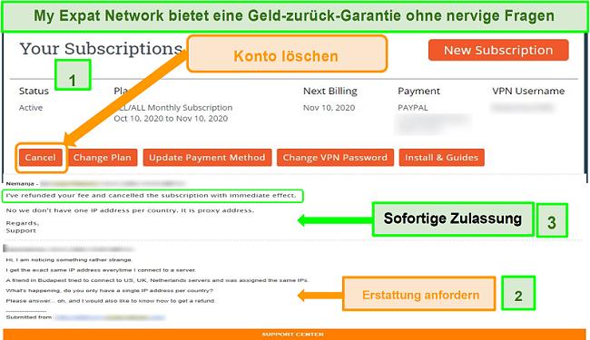 Screenshot des Rückerstattungsprozesses von My Expat Network